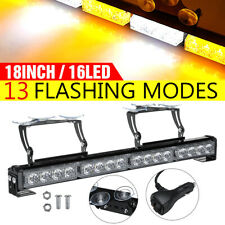 18'' 16 LED Emergency Warning Strobe Light Bar Flashing Traffic Amber + White