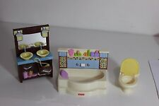 Fisher Price Loving Family Doll house bathroom, toilet, sink, tub lot