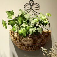 Natural Wicker Flower Basket Wall Hanging Pot Planter Rattan Vase Container Dec