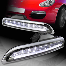 For 2005-2008 Porsche Boxster 987 Smoke Housing White LED DRL Bumper Lights Lamp
