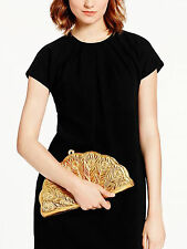 KATE SPADE Metallic Gold Leather Kenessa Peacock Lane Clutch Bag $395 FAN purse