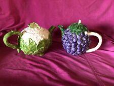 1985 Fitz And Floyd Teapot Set Of 2 Fruit Vegetable