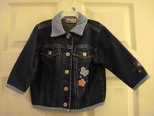 Baby Faded Glory Blue Corduroy Collar Denim Snap Closed Jacket Kid's Size 18 MO