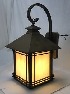 "Mission Tudor Outdoor Wall Lantern Porch Light Arts & Crafts Slag Glass ""Bronze"""