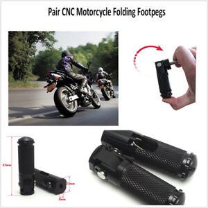 Pair CNC Black Aluminum Motorcycle Folding Rearsets Footrest For BMW Honda Etc.
