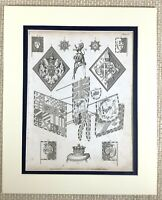 1830 Antique Engraving Heraldry Heraldic Flags Standards Armorial Device Crown