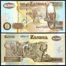 ZAMBIA 500 Kwacha 1992 Pick 39b  SC / UNC