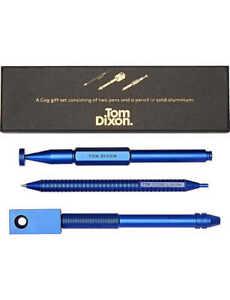 Tom Dixon Cog Pen Pencil Gift Set Blue Aluminium New