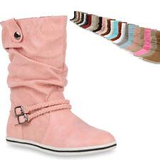 4f15a2a58af62c 892732 Bequeme Damen Stiefel Flache Schlupfstiefel Boots Gr. 36-42 Mode