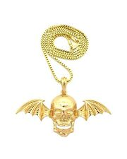 """NEW SKULL WING AVENGED SEVENFOLD PENDANT &2mm/24"""" BOX CHAIN NECKLACE - XSP473BX"""