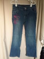 Girl's Faded Glory Relaxed Fit Jeans Size 7 with Pink Floral Embroidery