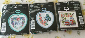 New NMI Stitch 'N' Frame Small Counted Cross Stitch Kits With Frames X 3
