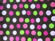 Vibrant Pinks Green Chocolate Polka-Dots Cotton Craft Sewing Fabric
