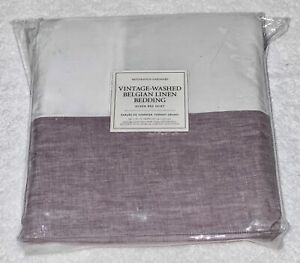 NIP RESTORATION HARDWARE Vintage Washed Belgian Linen Orchid Queen Size Bedskirt