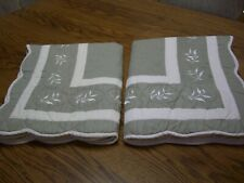 2 Ivory & Sage Floral Embroidery Cotton/Poly Quilted Standard Pillow Shams