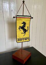 FERRARI SCHEDONI LEATHER TABLE PENNANT | FLAG | GAGLIARDETTO DA TAVOLO | RARITY