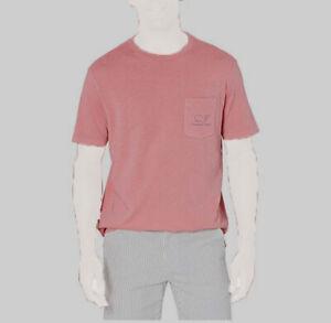 $295 Vineyard Vines Men's Pink Crewneck Short-Sleeve Pocket T-Shirt Top Size M