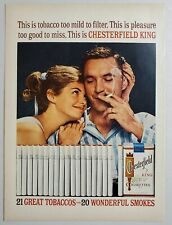 1962 Print Ad Chesterfield King Cigarettes Happy Couple Smoking No Filters