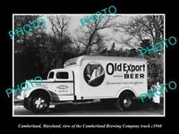 OLD LARGE HISTORIC PHOTO OF CUMBERLAND MARYLAND CUMBERLAND BREWERY TRUCK c1940