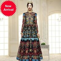 2019 New High Quality Womens Long Court Vintage Printed Embroidered Dress SY