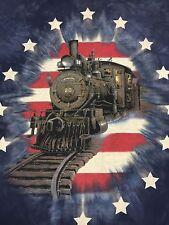 Steam Engine Train Tye Dye T-Shirt Railroad Conductor Caboose Locomotive Stars