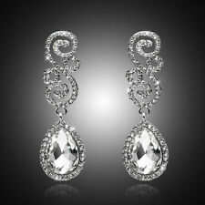 Long Crystal Drop Earrings Diamante Rhinestone Silver Dangle Bridal Wedding Prom