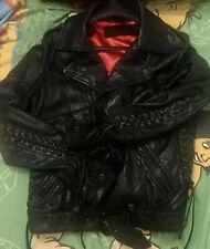 Auth TRUE RELIGION  Soft Lamb Leather Biker Moto Ties Jacket sz S - M