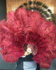 "24""x 43"" burgundy Marabou & Ostrich feathers fan with leather Travel Bag"