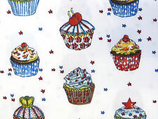 Red/White/Blue CUPCAKES FABRIC Cotton star cherry cake baking patriotic craft 1m