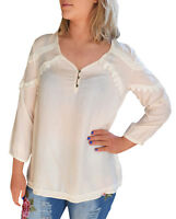 UK Size 12- 24 Ladies Blouse Top Antique Embroidery Ivory shirt Plus Sizes