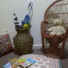 Vintage bamboo  wicker/Vase/planter  /umbrella Basket Walking Stick Stand