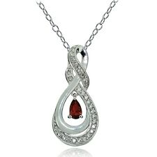 Sterling Silver Garnet and White Topaz Infinity Twist Teardrop Necklace