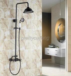 Black Brass Rain Shower Faucet Dual Handles Wall Mount Mixer Tap W/Hand Shower