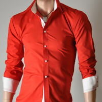 Mens Red Long Sleeve Shirts Casual Formal Slim Fit Shirt 100% Cotton S M L XL