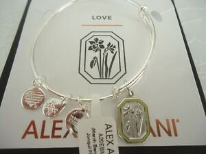 Alex and Ani MARCH JONQUIL FLOWER Bangle Shiny Silver New W/Tag Card &Box