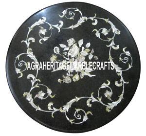 Black Marble Small Coffee Table Top Handmade Inlay Design Christmas Gift H3334