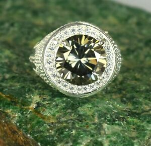 7.61 Ct/12 mm Gray Diamond Solitaire Halo Men's Ring AAA Quality, Great Luster