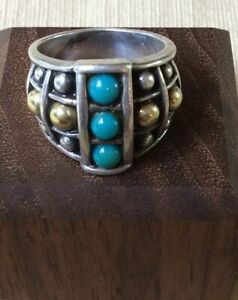 Lagos Caviar 18K Yellow Gold And Sterling Ring With Persian Turquoise Size 7