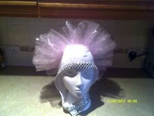 Drag Queen White/Silver  Head dress Pink organza braid ONE SIZE