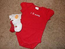 NWT NB/0-3M GyMbOrEe 5pc Strawberry Outfit/Set I LOVE DADDY Bodysuit & Socks