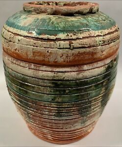 Vint John Perceval Pottery Green & White Glazed Red Terra Lidded Jar AMB Pottery
