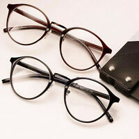 Unisex Vintage Clear Lens Eyeglasses Frame Retro Round Women Men Nerd Glasses