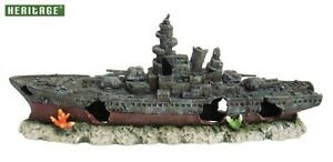 HERITAGE WS008BL AQUARIUM FISH TANK LARGE WARSHIP BOAT SHIP WRECK ORNAMENT 73CM