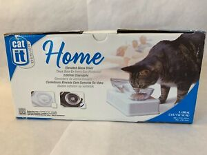 Cat IT Design Elevated Food Glass Diner Bowl  New in Box