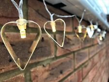 Metal Heart Warm White Fairy Lights String Garland 10 LED Party Decoration