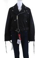 Maison Mihara Yasuhiro Womens Cropped Leather Jacket Black Size European 36