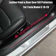 For Tesla Model 3 2017-20 Car Leather Front & Rear Door Sill Protective 4PCS