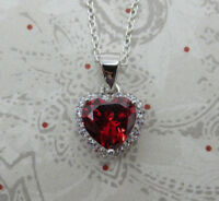 Red Garnet CZ Heart Pendant - 925 Sterling Silver - January Birthstone Necklace