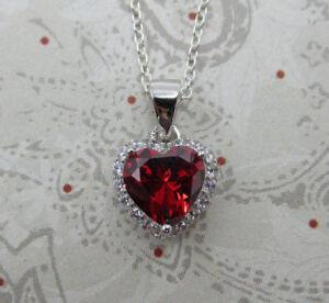Red Garnet CZ Heart Pendant - 925 Sterling Silver - January Birthstone Necklace
