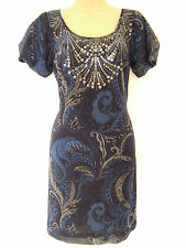 M&S LIMITED COLLECTION BLUE MIX SEQUIN GOTHIC DRESS BNWT UK 8 RRP £45